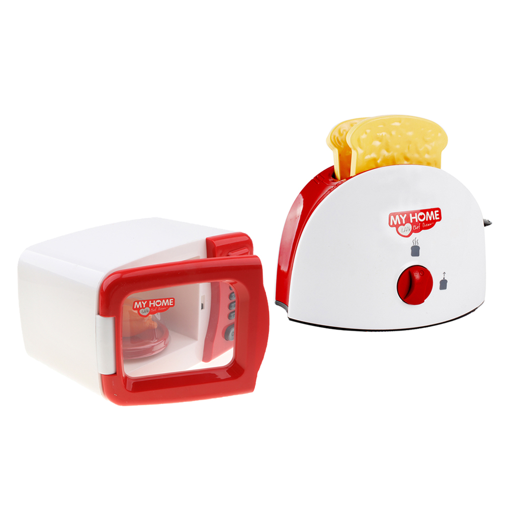 2pcs Assorted Kitchen Appliance Toys with Bread Maker & Microwave Oven Role Play Kitchen Accessories