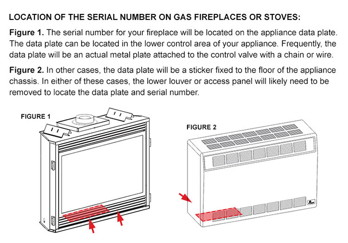 Gas Fireplaces, Inserts and Stoves Serial Numbers