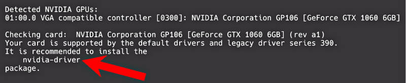 nvidia-detect suggests to install nvidia-driver