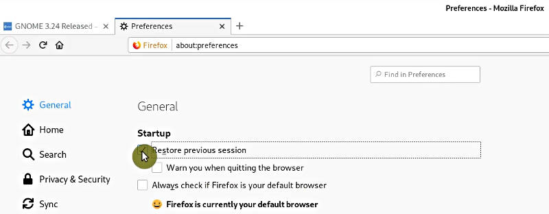 Restore previous session option in Firefox