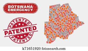 Crisis and Emergency Collage of Botswana Map and Distress Patented Watermark