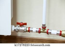 Fittings and PVC pipe of central heating radiator