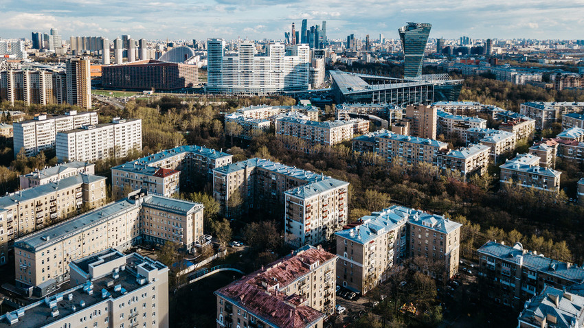 Russia, Moscow. Aerial view of Sokol District.