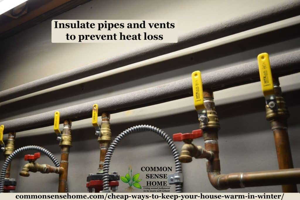 Insulated pipes to prevent heat loss
