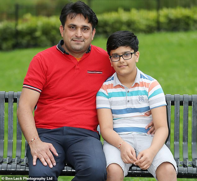 Raviraj with his dad Nathu Ram, 37, who expressed his gratitude towards the people who rescued his son, but also to Saving Lives at Sea