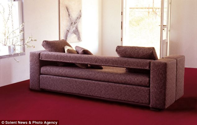 The bigger three-seated sofa is 245cm wide and the maximum weight supported by each single bed is 150kg