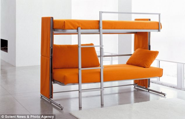 The smaller version of the unique two-seated sofa is 206cm wide and 149cm tall when it is extended into a bunk bed