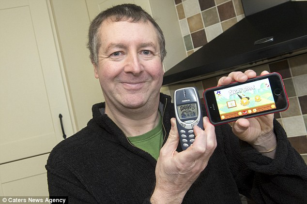 Snake II v Angry Birds: His son tried several times to get him to upgrade, but despite people cracking jokes about his phone, Mr Mitchell resolutely stuck to his choice