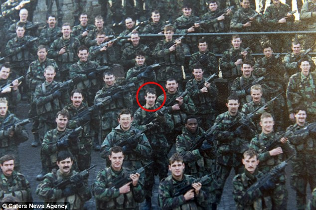 Mr Mitchell (circled, in Croatia) served in the Army for 29 years, completing several tours of the Middle East, including Iraq and Afghanistan, before moving into administration