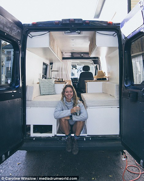 Netflix and Drill: Caroline named the van Roxi, a bit of a nod to her previous van Rocky that started it all. This summer she spent three months converting the van with the help of her boyfriend Luke. Pictures show her hammering, sawing and shaping the van into a livable condition