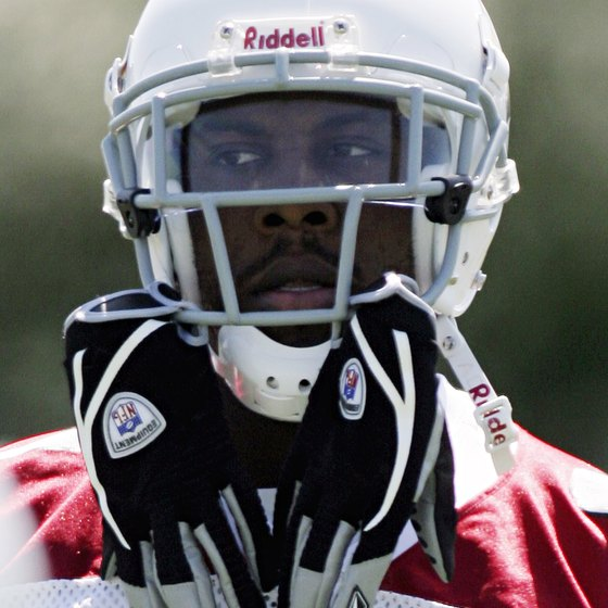 Anquan Boldin of the Arizona Cardinals wearing a visor.