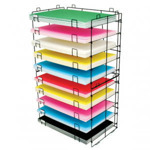 rack with multi colored foam board