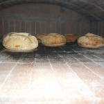 Baking bread in inside the oven.